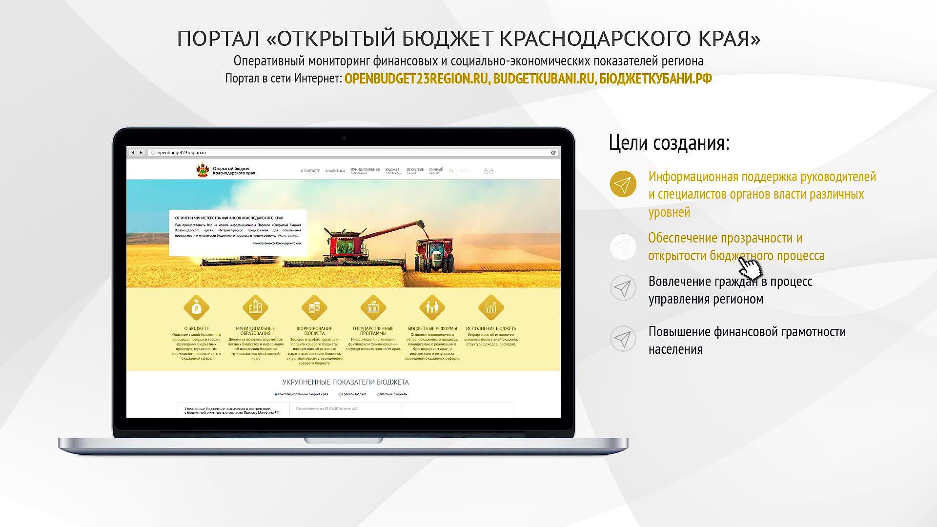 Портал Открытый бюджет Краснодарского края